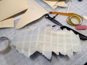 Taping the bottom for the insole pattern