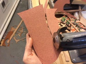 Cutting leather particle board for insoles using 5-in-1