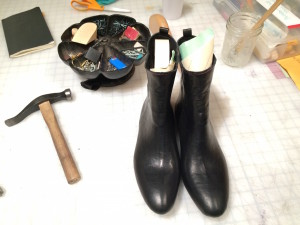 Boots with glue, left to dry overnight