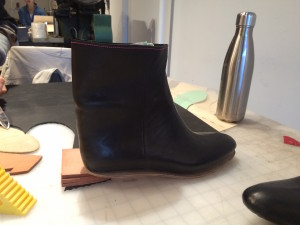 Decided on the heel height. I went with three pieces of men's weight sole leather + the rubber