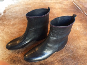 Completed boots, ready to wear