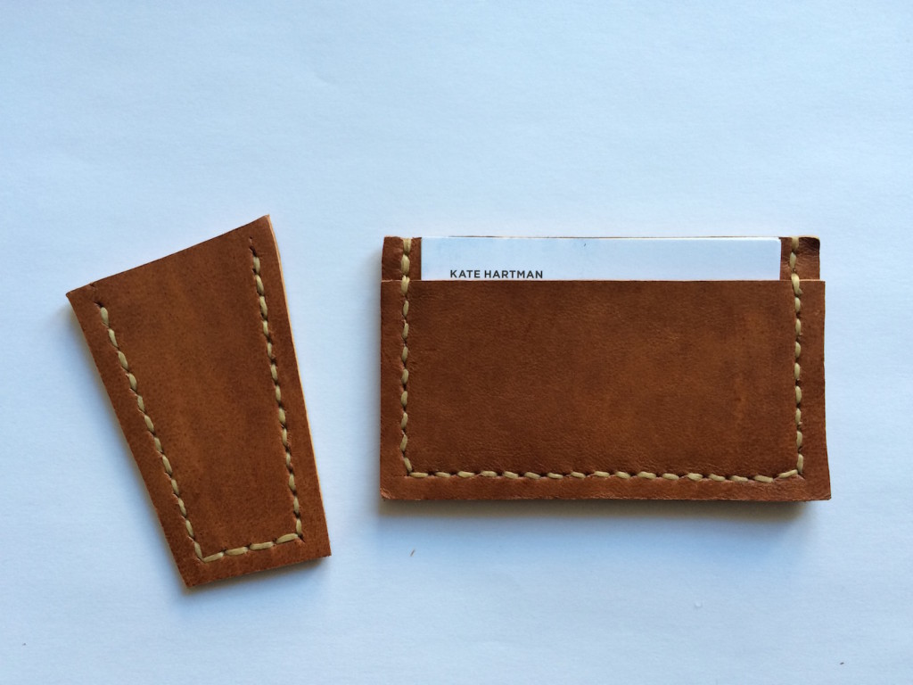 Left: a leather sewing test, Right: a leather card holder