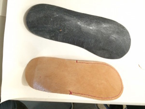 Soles with glue drying